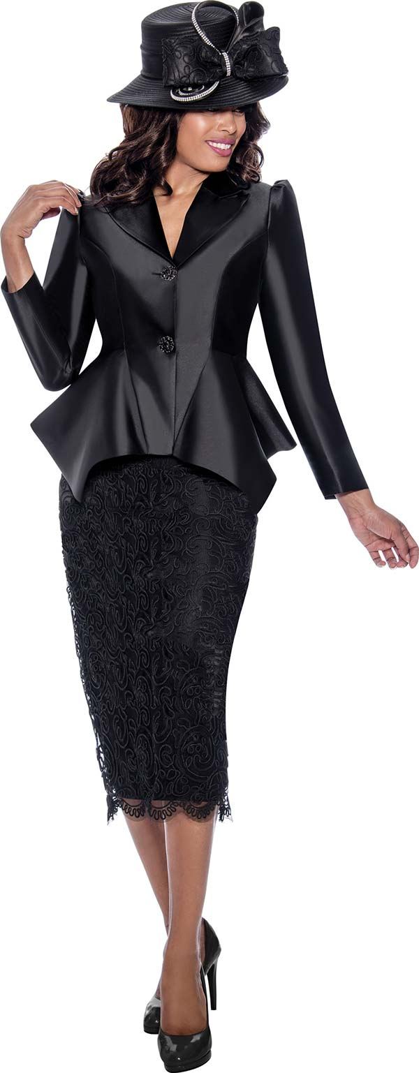 GMI G8092-Black - Church Suit With Lace Skirt And Sharkbite Style Peak Lapel Jacket