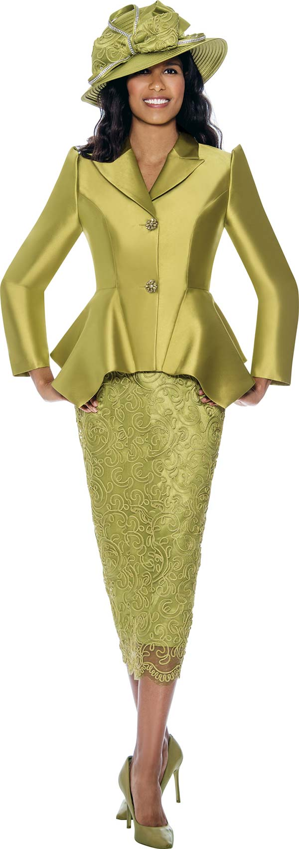 GMI G8092-Green - Church Suit With Lace Skirt And Sharkbite Style Peak Lapel Jacket