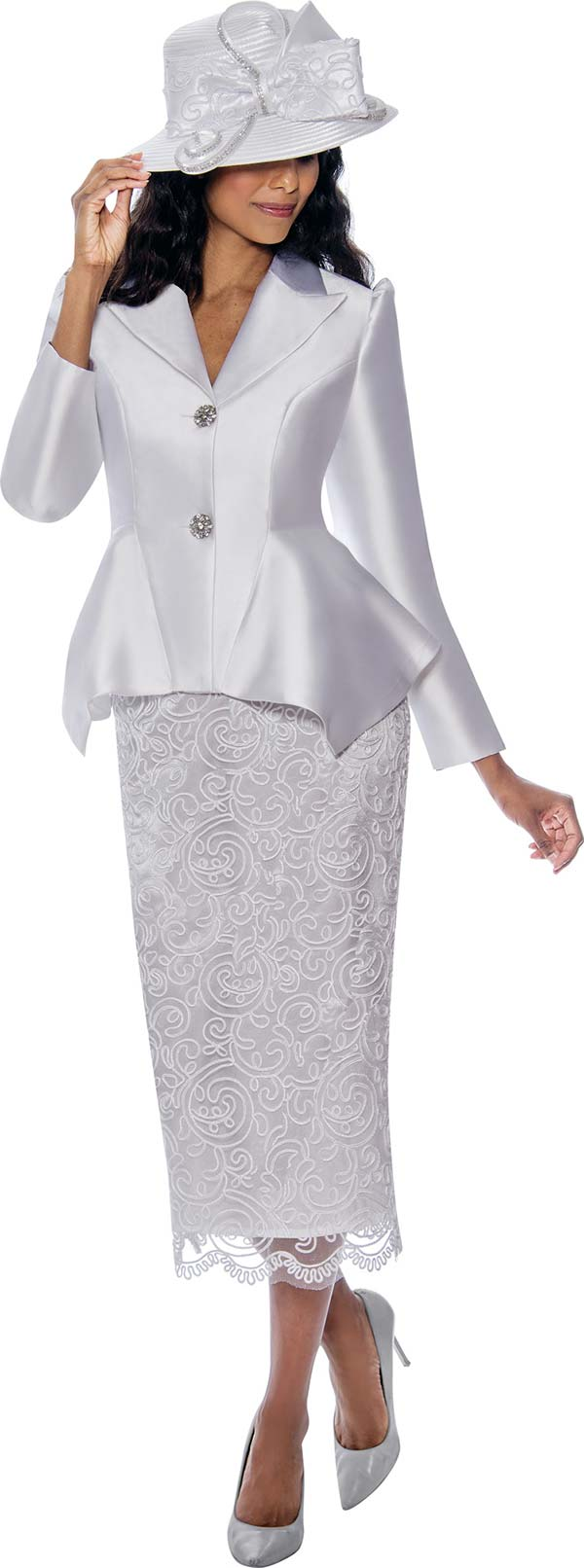 GMI G8092-White - Church Suit With Lace Skirt And Sharkbite Style Peak Lapel Jacket