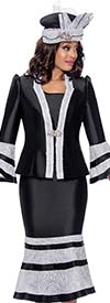 GMI G8103-BlackWhite - Church Suit With Lace Trimmed Flounce Cuff Jacket And Skirt