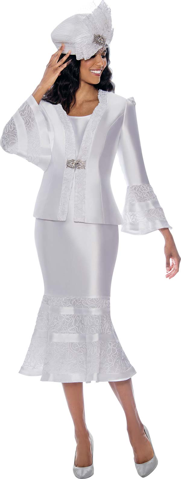 GMI G8103-White - Church Suit With Lace Trimmed Flounce Cuff Jacket And Skirt