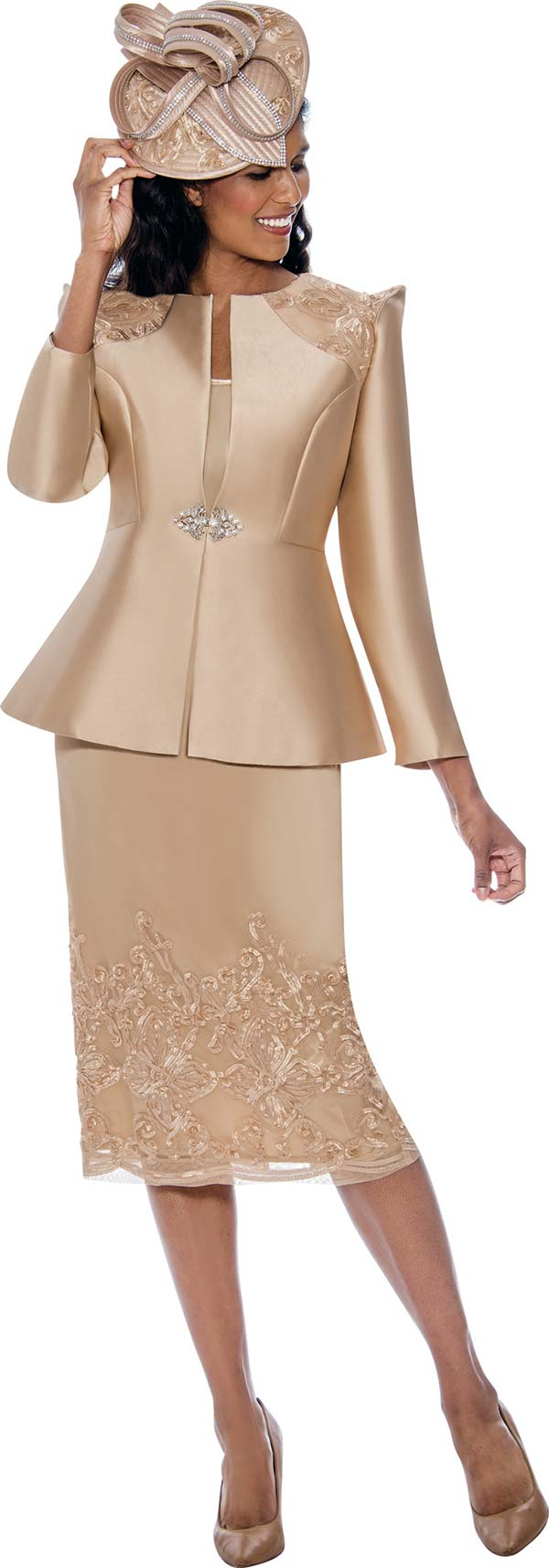 GMI G8153-Champagne - Womens Church Suit With Lace Detail On Pointed Shoulder Jacket And Skirt