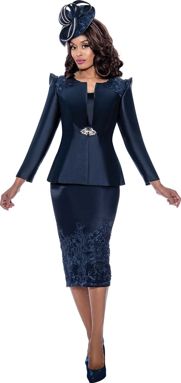 GMI G8153-Navy - Womens Church Suit With Lace Detail On Pointed Shoulder Jacket And Skirt