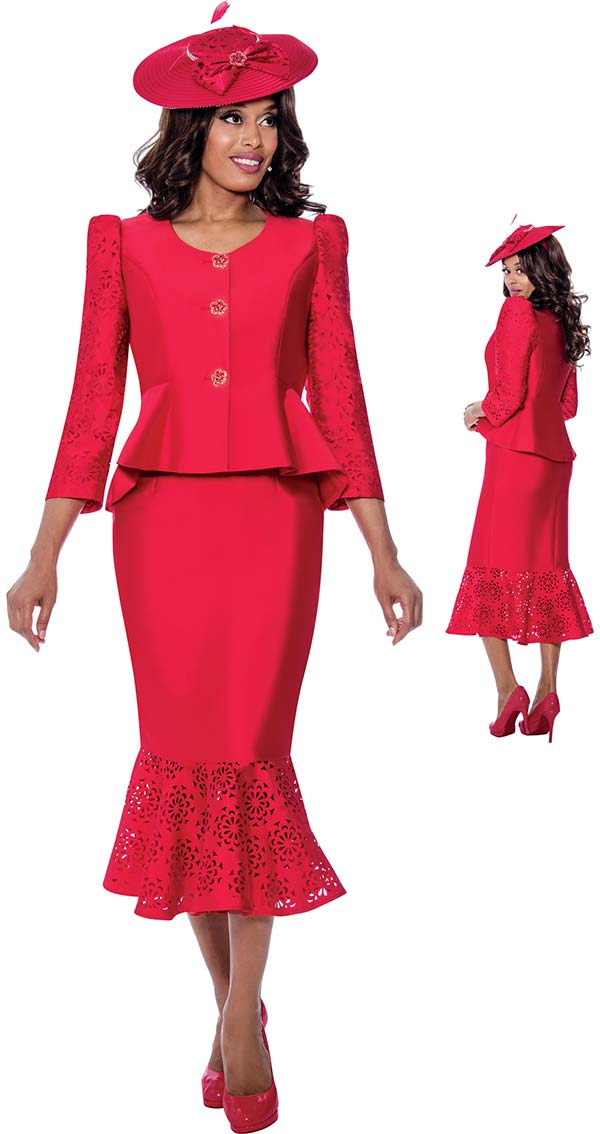 GMI 8162-Red- Ladies Peplum Jacket And Flounce Hem Skirt Suit With Cut-Out Pattern Design