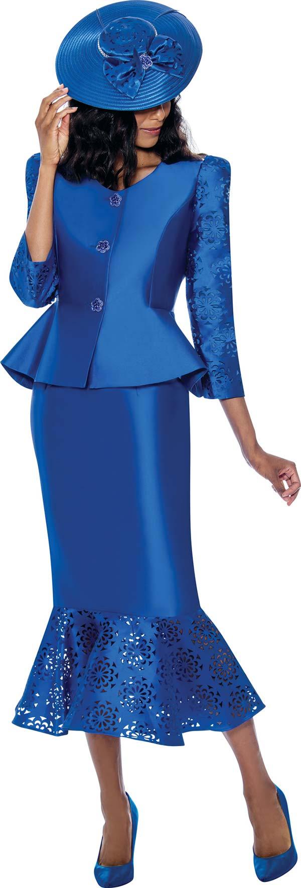 GMI 8162-Royal - Ladies Peplum Jacket And Flounce Hem Skirt Suit With Cut-Out Pattern Design