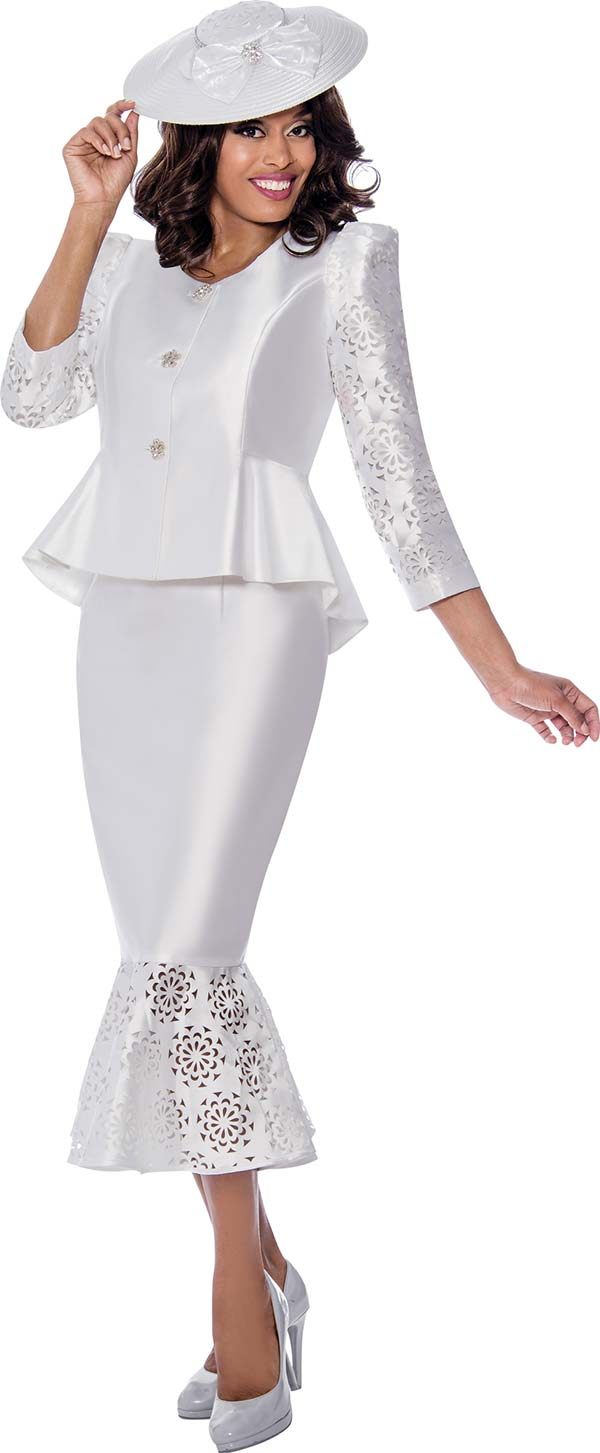 GMI 8162-White - Peplum Jacket And Flounce Hem Ladies Skirt Suit With Cut-Out Pattern Design
