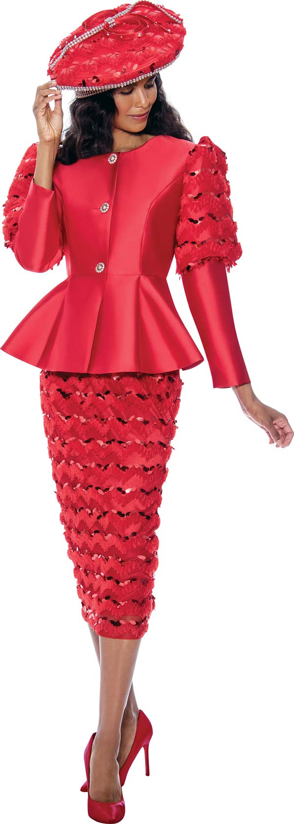 GMI G8172-Red - Womens Peplum Jacket And Skirt Suit Featuring Cut-Out Ruffle Design