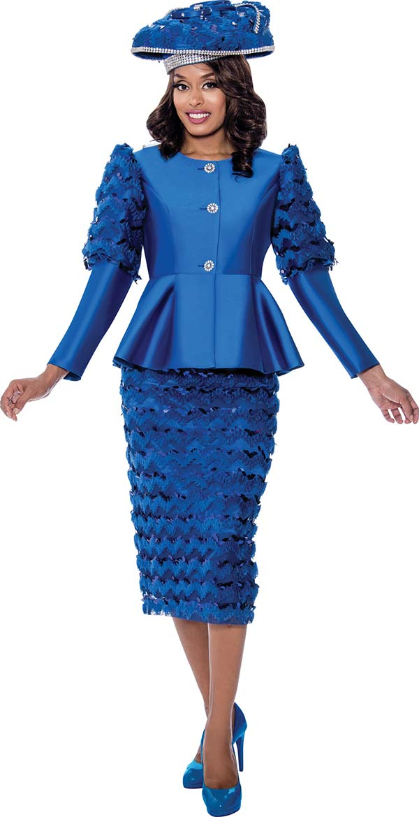 GMI G8172-Royal - Womens Peplum Jacket And Skirt Suit Featuring Cut-Out Ruffle Design