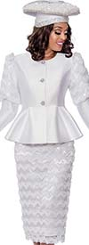 GMI G8172-White - Peplum Jacket And Skirt Suit Featuring Cut-Out Ruffle Design