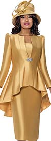 GMI G8203-Gold - Ladies Skirt Suit With Pleated High-Low Style Jacket