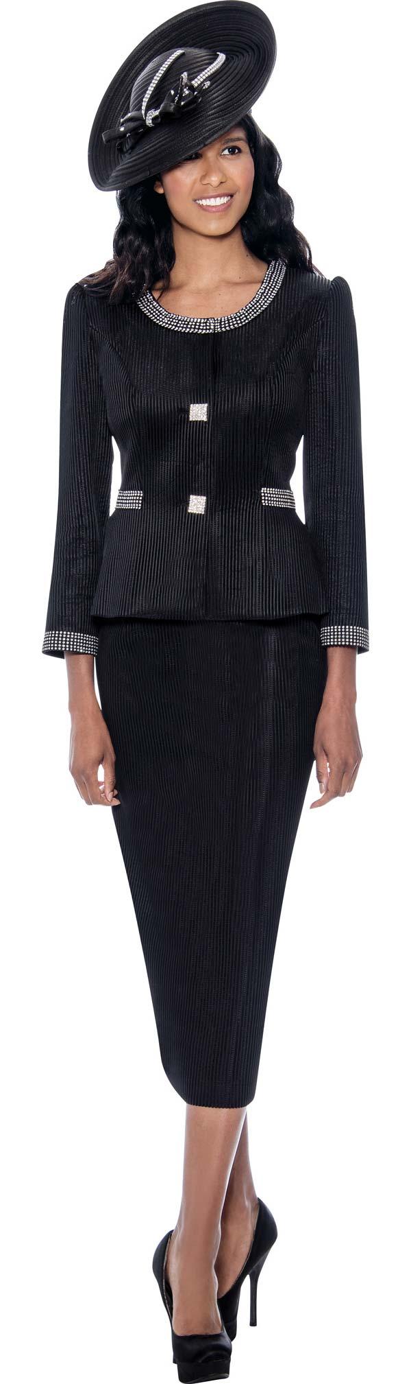 GMI G8212-Black - Textured Look Skirt Suit With Rhinestone Trimmed Slight Hi-Lo Jacket