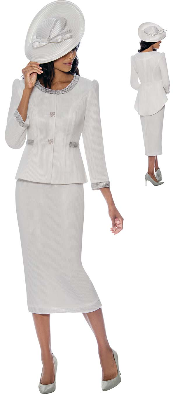 GMI G8212-White - Textured Look Skirt Suit With Rhinestone Trimmed Slight Hi-Lo Jacket