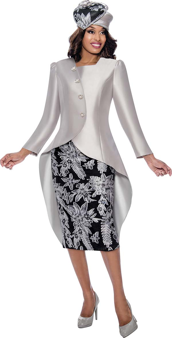 GMI G8232 - Womens Church Suit Featuring High-Low Wrap Style Jacket With Floral Pattern Design Skirt