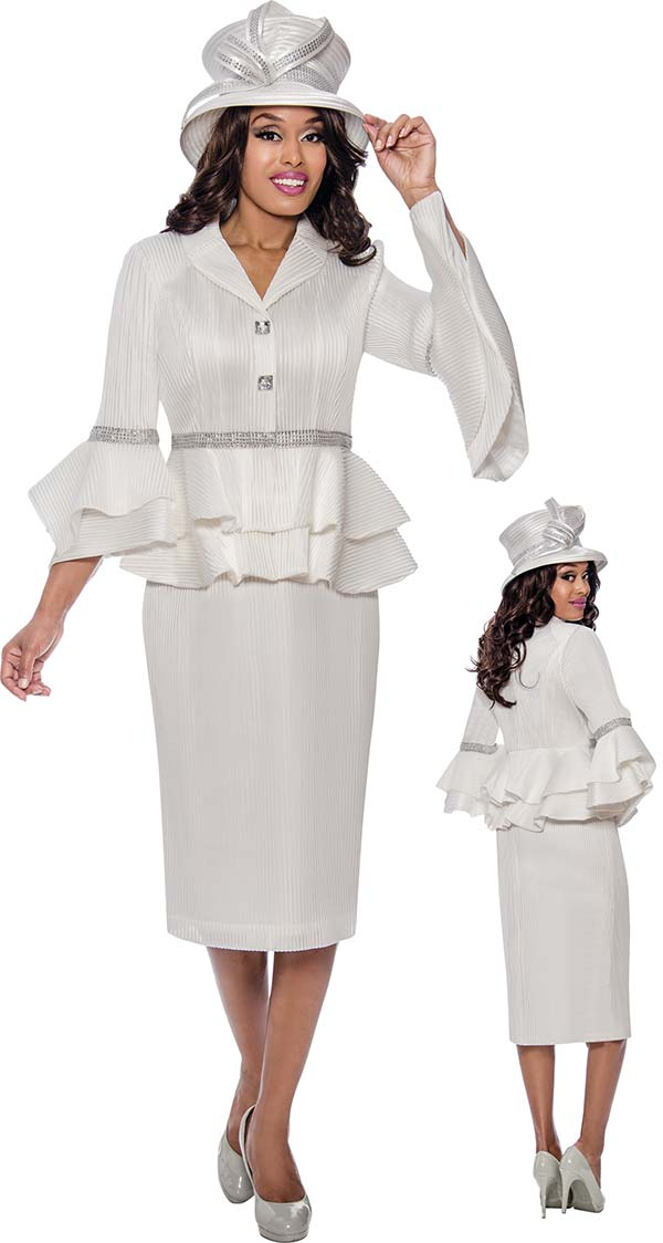 GMI G8242 - Ladies Church Suit With Tiered Bell Cuffs & Embellished Peplum Jacket