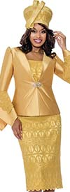 GMI G8272-Gold - Church Suit With Embroidered Lace Detail Skirt And Tiered Flounce Sleeve Jacket