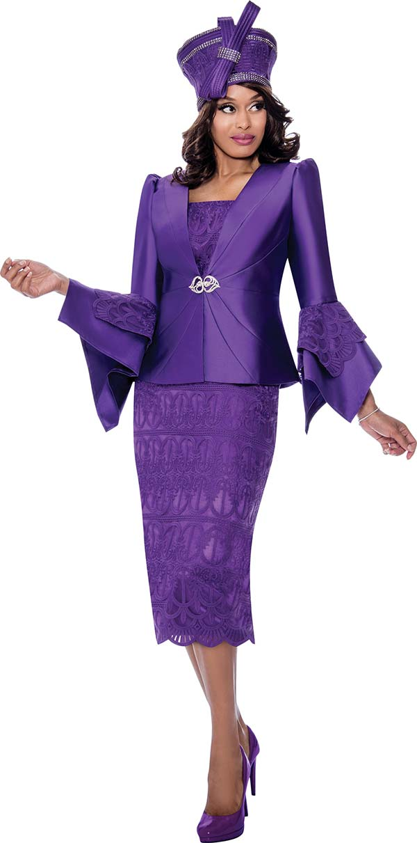 GMI G8272-Purple - Church Suit With Embroidered Lace Detail Skirt And Tiered Flounce Sleeve Jacket