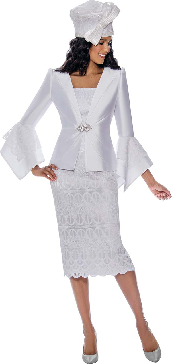 GMI G8272-White - Church Suit With Embroidered Lace Detail Skirt And Tiered Flounce Sleeve Jacket