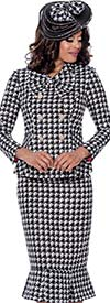 GMI G8292 - Womens Flounce Hem Skirt Suit With Bow Neckline In Houndstooth Pattern Design