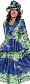GMI G8312 - Womens Bold Multi-Color Print Circle Skirt Suit With Shawl Lapel Peplum Jacket