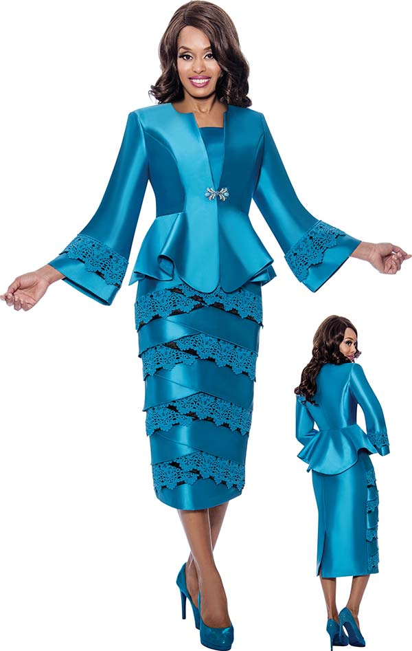 GMI G8322 - Lace Trimmed Ladies Tulip Tier Skirt Suit With Bell Sleeve Peplum Jacket