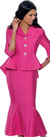 GMI G8342 - Womens Suit With Notch Lapel Peplum Jacket And Godet Skirt