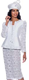 GMI G8633-White - Silk Look And Floral Design Womens Church Suit