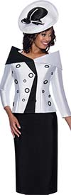GMI G8652-Black/White - Church Suit With Skirt And Circle Accented Portrait Collar Jacket