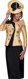 GMI G8652-Gold/Black- Church Suit With Skirt And Circle Accented Portrait Collar Jacket