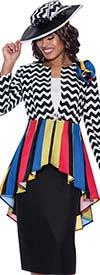 GMI G8673 - Skirt Suit With Zig-Zag Pattern Designed Multi Color Peplum Jacket
