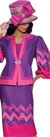 GMI G8683 - Multi Color Chevron Design Skirt Suit With Balloon Sleeve Jacket