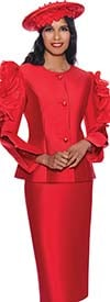 GMI G8712-Red - Church Suit With Skirt And Ruffle Accented Split Sleeve Design Jacket
