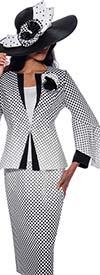 GMI G8733 - Womens Polka-Dot Church Suit With Skirt And Flounce Sleeve Jacket