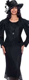 GMI G8743-Black - Striped Mesh Design Womens Church Suit With Flared Skirt And Ruffle Sleeve Jacket