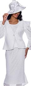 GMI G8743-White - Striped Mesh Design Womens Church Suit With Flared Skirt And Ruffle Sleeve Jacket