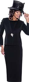 GMI G8812-Black - Church Suit With Skirt And Upper Ruffle Sleeve Jacket