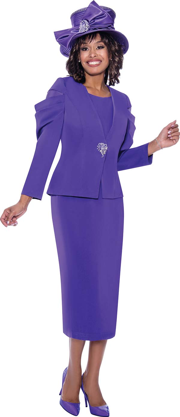 GMI G8812-Purple - Church Suit With Skirt And Upper Ruffle Sleeve Jacket