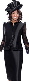 GMI G8822-Black - Skirt Suit In Silk Look Fabric With Pointy Shoulder Lace Sleeve Jacket