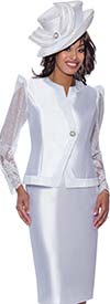 GMI G8822-White - Skirt Suit In Silk Look Fabric With Pointy Shoulder Lace Sleeve Jacket