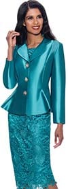 GMI G8832 - Church Suit With Clover Leaf Lapel Peplum Jacket And Lace Skirt