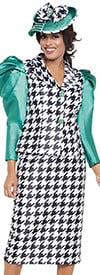 GMI G8692 - Black White Emerald -Womens Church Suit With Leg Of Mutton Sleeves In Hounds Tooth Pattern