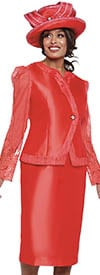 GMI G8822-Red- Skirt Suit In Silk Look Fabric With Lace Sleeve Jacket