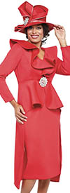GMI G8842-Red - Church Suit With High Low Peplum Jacket