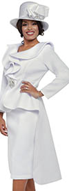 GMI G8842-White - Church Suit With High Low Peplum Jacket