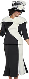 GMI G8882-Black/White - Church Suit With Layered Shoulder Shrug