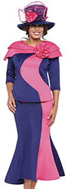 GMI G8882-Navy/Fuchsia - Church Suit With Layered Shoulder Shrug