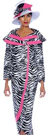 GMI G5092-BlackWhitePink - Two Piece Womens Skirt Suit In Zebra Print Design
