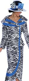 GMI G5092-BlackWhiteRoyal - Two Piece Womens Skirt Suit In Zebra Print Design