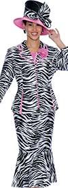 GMI G5103-BlackWhitePink - Three Piece Womens Flounce Skirt Suit In Zebra Print Design