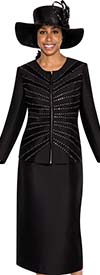 GMI G5253 - Two Piece Skirt Suit With Rhinestone Embellished Zipper Front Jacket