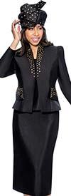 GMI G6303-Black - Skirt Suit With Stud Detailed Star Neckline Jacket